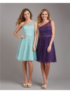 A Line One Shoulder Short Purple Lace Wedding Guest Bridesmaid Dress With Belt