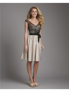 A Line V Neck Cap Sleeve Short Champagne Satin Black Lace Bridesmaid Dress With Sash