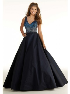 A Line Long Black Taffeta Ombre Beading Prom Dress V Neck