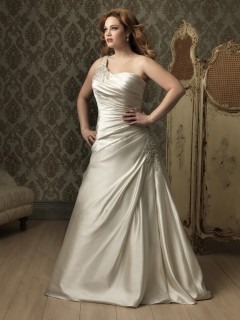 A line Princess one shoulder ivory satin ruched plus size designer wedding dress with train