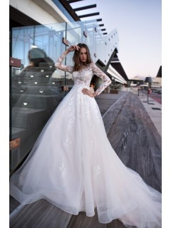 A Line Princess Wedding Dress Long Sleeves White Tulle Lace