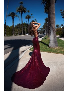 Backless Mermaid Evening Prom Dress Burgundy Sequin With Long Train spaghetti Straps