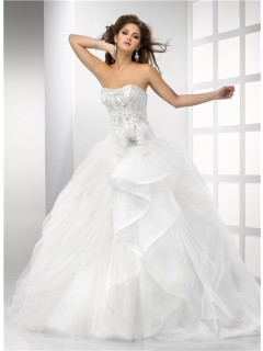 Ball Gown Sweetheart Puffy Tulle Wedding Dress With Embroidery Beading Crystal Detachable Straps
