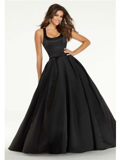Ball Gown Long Black Satin Square Neck Prom Dress Open Back