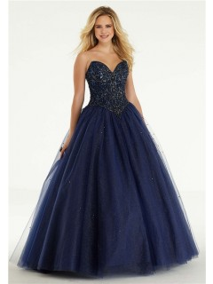 Ball Gown Strapless Drop Waist Navy Blue Tulle Beaded Prom Dress