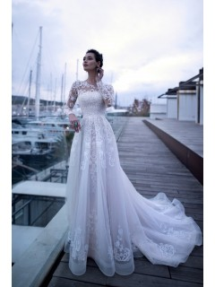 Charming Long Sleeve Lace Wedding Dress High Neck With Train
