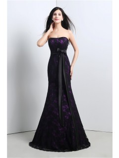Mermaid Strapless Corset Purple Satin Black Lace Evening Prom Dress With Sash