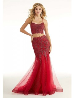 Mermaid Two Piece Red Tulle Lace Prom Dress With Spaghetti Straps