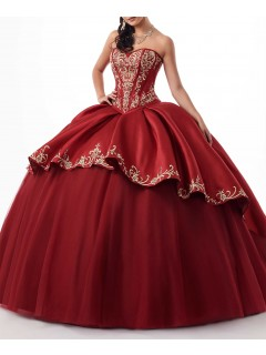 Ball Gown Royal Blue Satin Prom Dress With Gold Embroidery