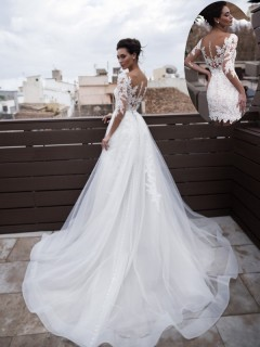 Princess Two In One Wedding Dress White Tulle Sleeves With Detachable Skirt