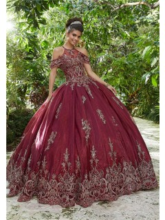 Quinceanera Dress Ball Gown Prom Dress Burgundy Tulle Gold Lace Cold Shoulder
