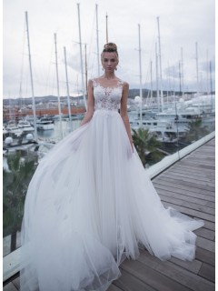 Romantic Wedding Dress Flowing Tulle Lace Illusion Neckline With Buttons