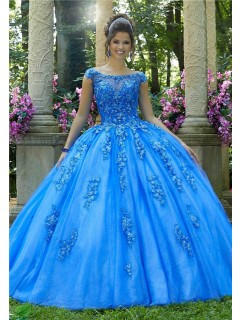 Stunning Ball Gown Prom Dress Sky Blue Tulle Lace Quinceanera Dress Boat Neck
