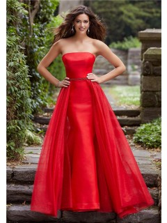 Stunning Mermaid Strapless Red Prom Dress With Detachable Tulle Skirt