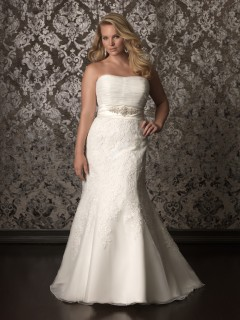 Trumpet Mermaid strapless chapel train lace plus size wedding dress with crystals sash
