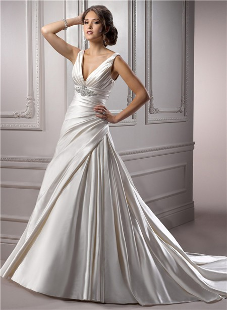 A Line Deep V Neck Corset Back Ivory Satin Ruched Wedding Dress With Crystal