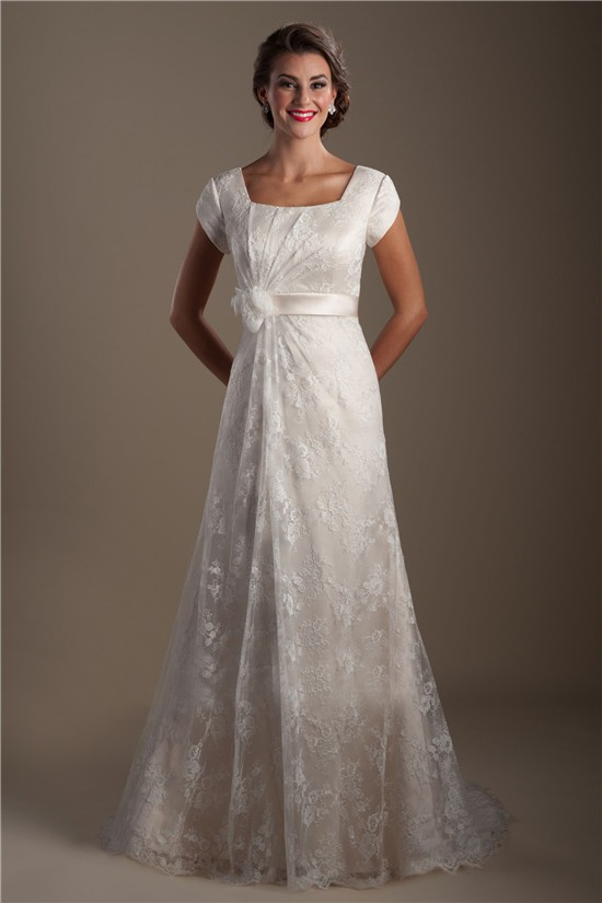 A Line Square Neck Cap Sleeve Lace Modest Wedding Dress With Flower Sash