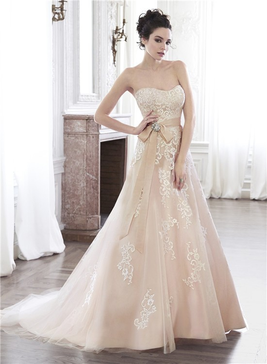 A Line Strapless Champagne Color Lace Applique Wedding Dress With Crystal Sash