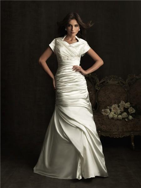A line high neck court train silk satin wedding dress with short sleeves