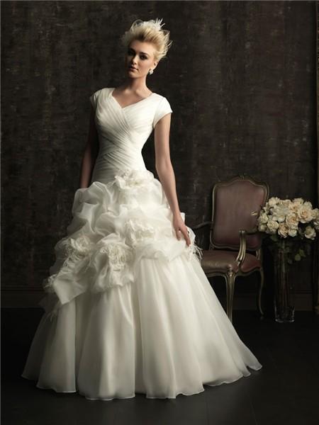 A line v neck chapel train organza wedding dress with short sleeves