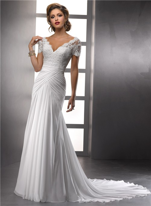 Elegant Sheath V Neck Lace Chiffon Summer Wedding Dress With Short Sleeves Buttons