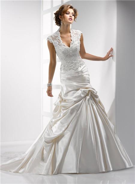 Modest Mermaid Scalloped V Neck Cap Sleeve Ivory Satin Lace Wedding Dress With Pick Up Skirt