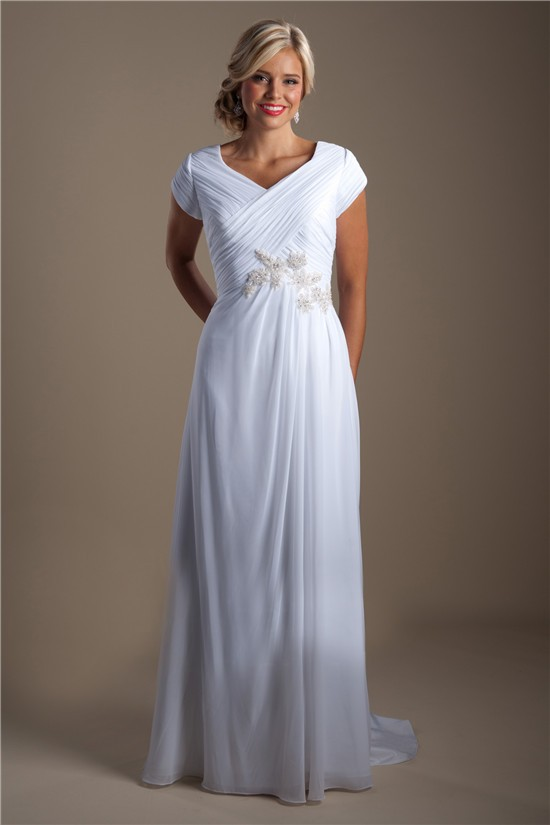 Modest Sheath V Neck Cap Sleeve Chiffon Beaded Beach Wedding Dress