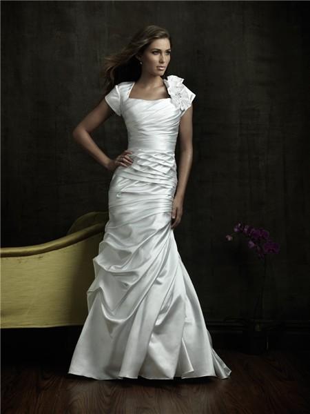 Trumpet/ Mermaid square court train cap sleeve modest wedding gown