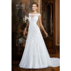 A Line Bateau Neckline Cap Sleeve Organza Lace Beaded Wedding Dress Sheer Back