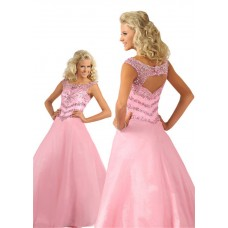 A Line Bateau Neckline Open Back Light Pink Taffeta Beaded Teen Prom Dress