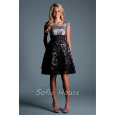 A Line Cap Sleeve Short Grey Satin Black Lace Prom Dress
