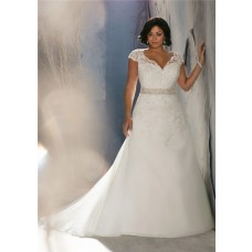 A Line Cap Sleeve V Neck Organza Lace Beaded Plus Size Wedding Dress With Buttons