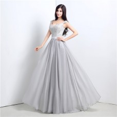 A Line Corset Back Long Silver Lace Chiffon Evening Prom Dress With Belt