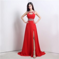 A Line Cut Out High Slit Long Red Chiffon Beaded Prom Dress With Straps