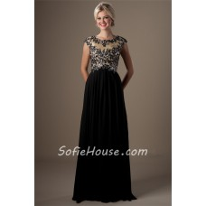 A Line Empire Waist Formal Long Black Chiffon Beaded Modest Prom Dress With Sleeves