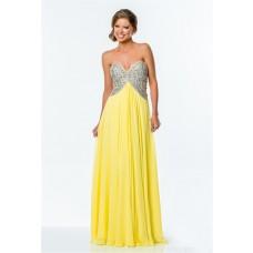 A Line Empire Waist Yellow Chiffon Beaded Long Evening Prom Dress Low Back