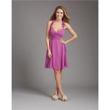 A Line Halter V Neck Short Purple Chiffon Ruched Wedding Guest Bridesmaid Dress