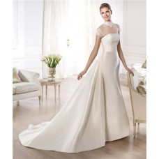 A Line High Neck Cap Sleeve Sheer Tulle Satin Wedding Dress With Detachable Train