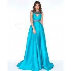 A Line High Neck Front Cut Out Open Back Turquoise Taffeta Beaded Prom Dress