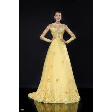 A Line High Neck Long Sleeve Yellow Tulle Lace See Through Prom Dress