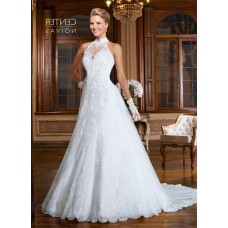 A Line High Neck Sheer Back Tulle Lace Beaded Wedding Dress With Collar