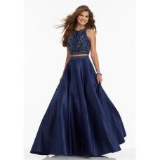 A Line High Neck Sleeveless Two Piece Navy Satin Beaded Prom Dress
