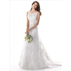 A Line Illusion Bateau Neck V Back Lace Wedding Dress With Ribbon Belt