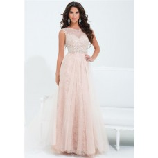 A Line Illusion Neckline Cap Sleeve Long Peach Lace Tulle Beaded Prom Dress