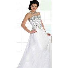 A Line Illusion Neckline Keyhole Back Long White Chiffon Beaded Prom Dress