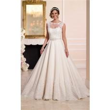 A Line Illusion Neckline Keyhole Back Tulle Lace Wedding Dress Detachable Jacket Belt