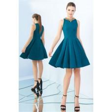 A Line Jewel Neckline Full Back Short Teal Satin Prom Dress Godet Skirt