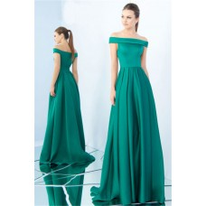 A Line Off The Shoulder Jade Green Satin Pleated Evening Prom Dress