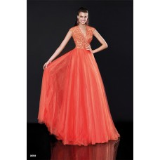 A Line Plunging Neckline Deep V Neck Open Back Coral Tulle Beaded Prom Dress