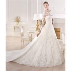 A Line Princess Bateau Neckline Long Sleeve Lace Wedding Dress With Detachable Train